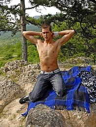 Sexy and cute twink  undresses in the woods